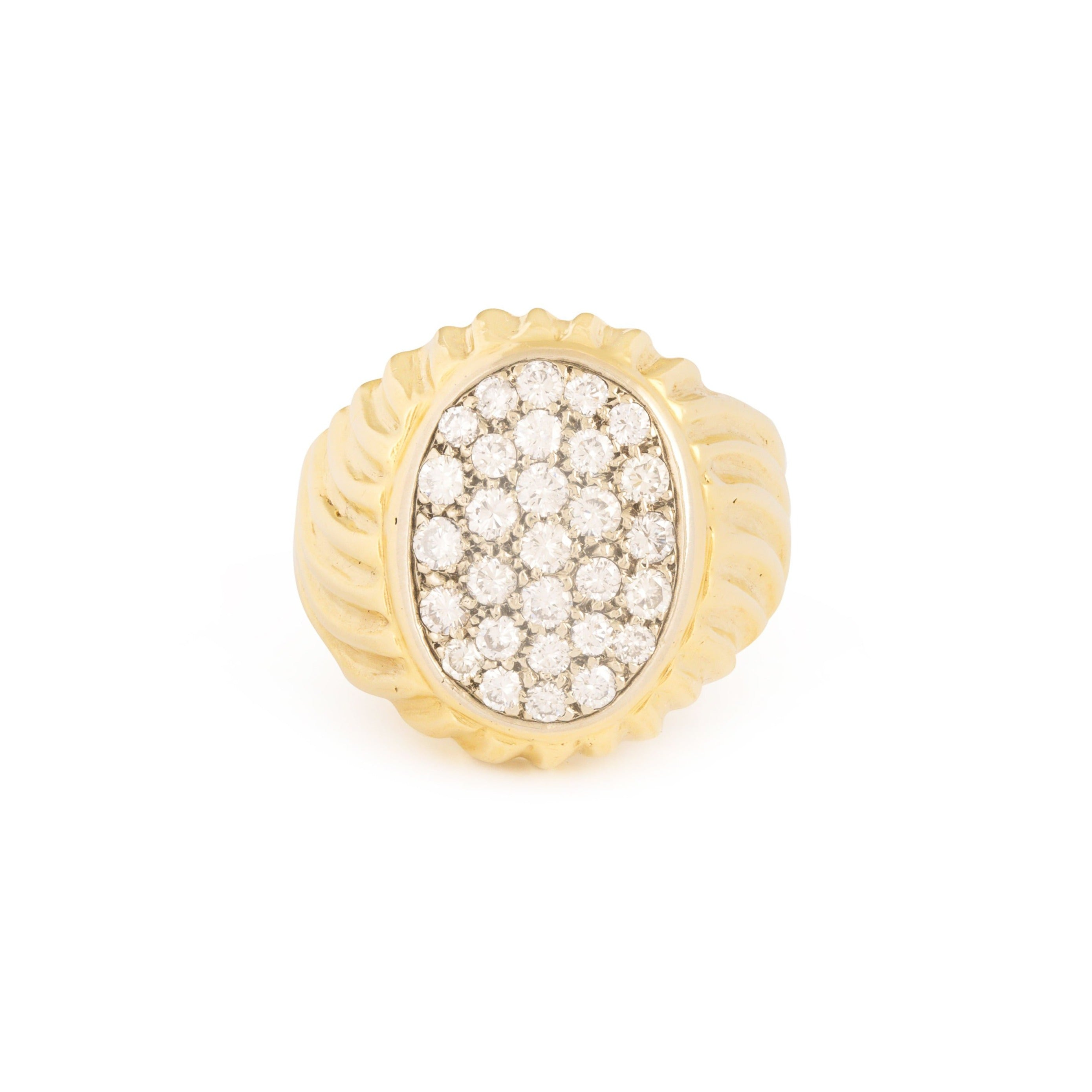 Diamond Pavé and 18k Fluted Gold Signet Ring