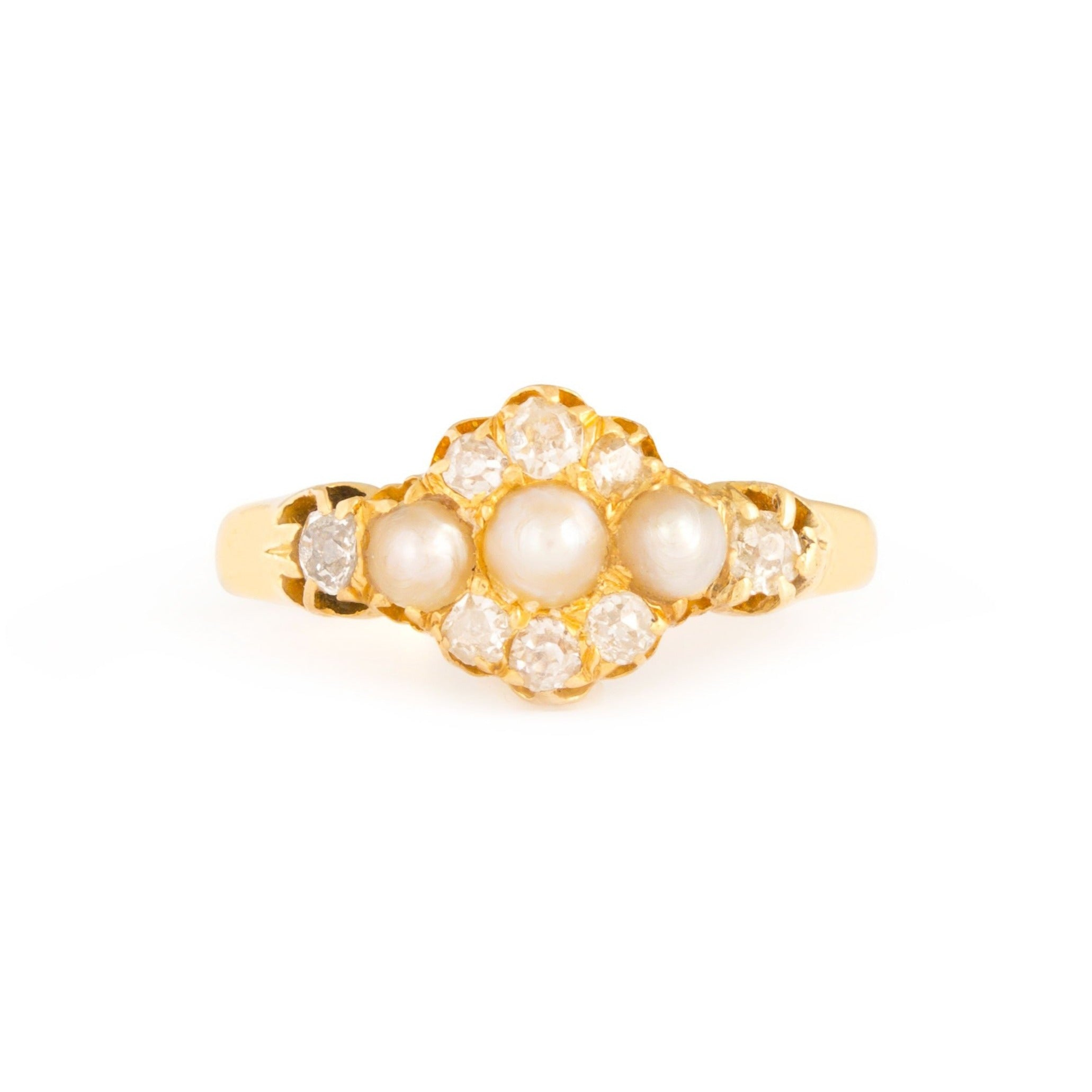 Victorian Pearl, Old Mine Cut Diamond, and 14k Gold Ring