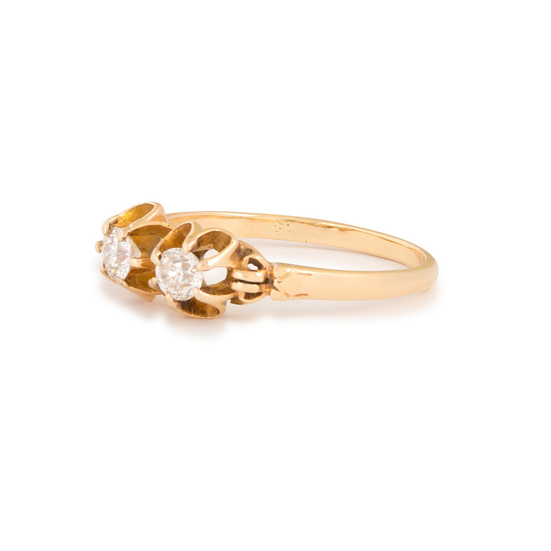 Victorian Double Old Mine Cut Diamond 14k Gold Ring