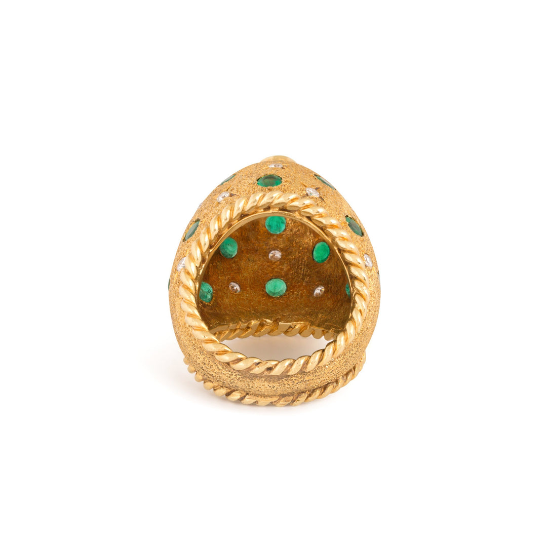 Emerald and Diamond 18k Gold Dome Ring