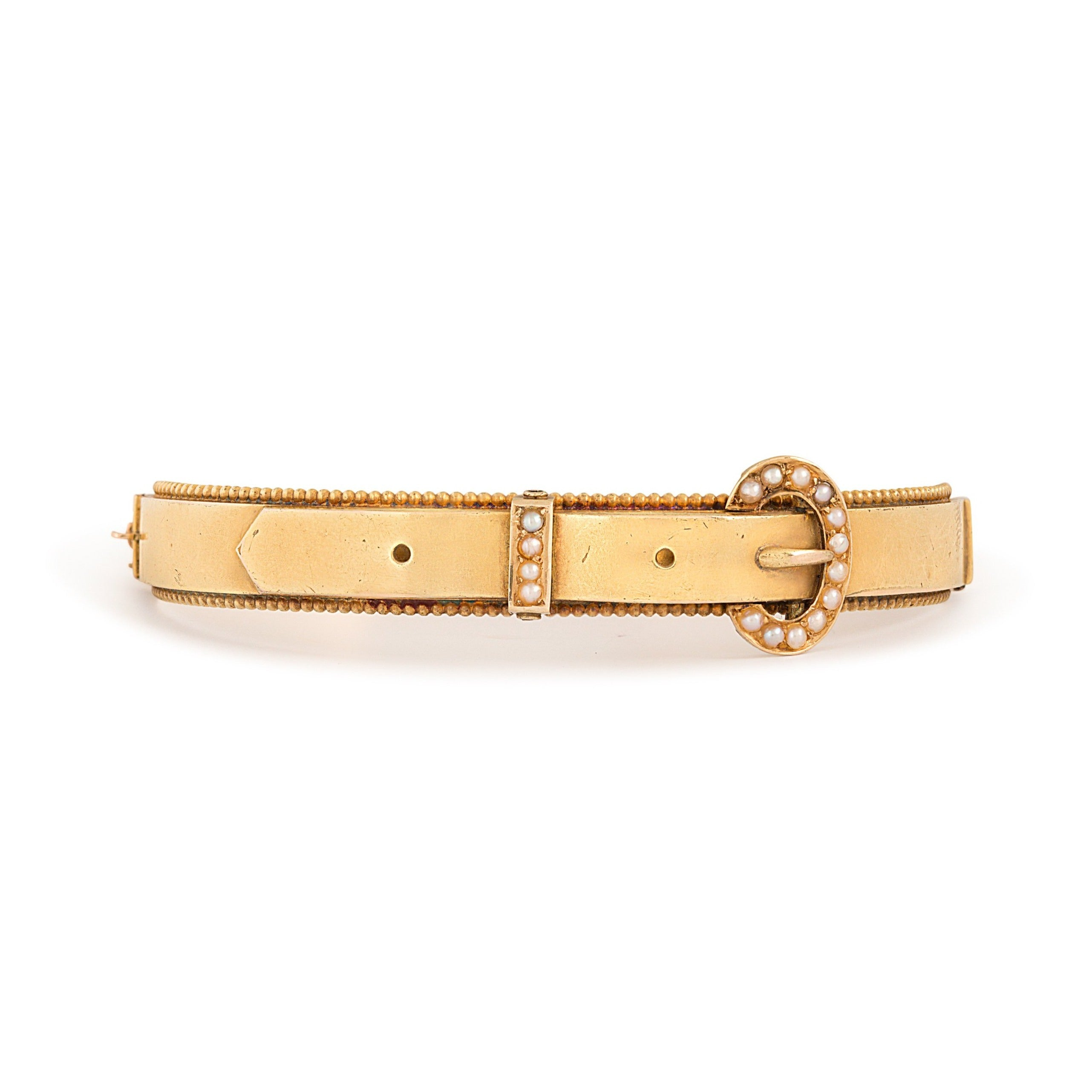 Victorian Diamond And 14k Gold Buckle Bracelet