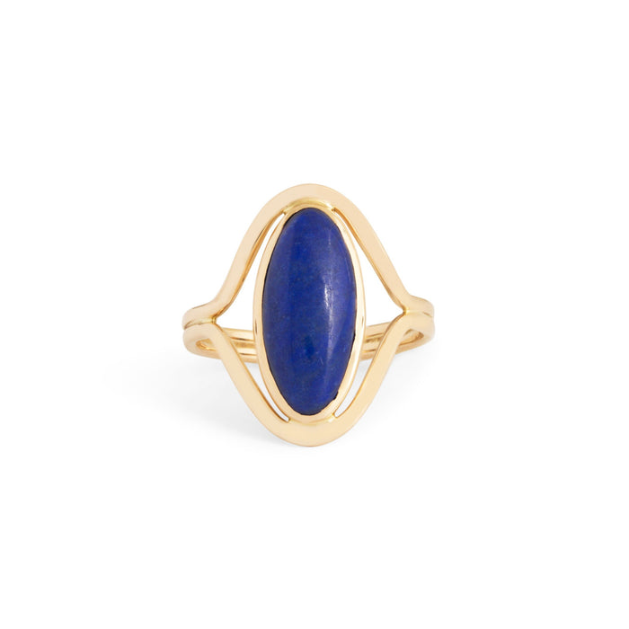 Lapis Lazuli and 14k Gold Split Shank Ring