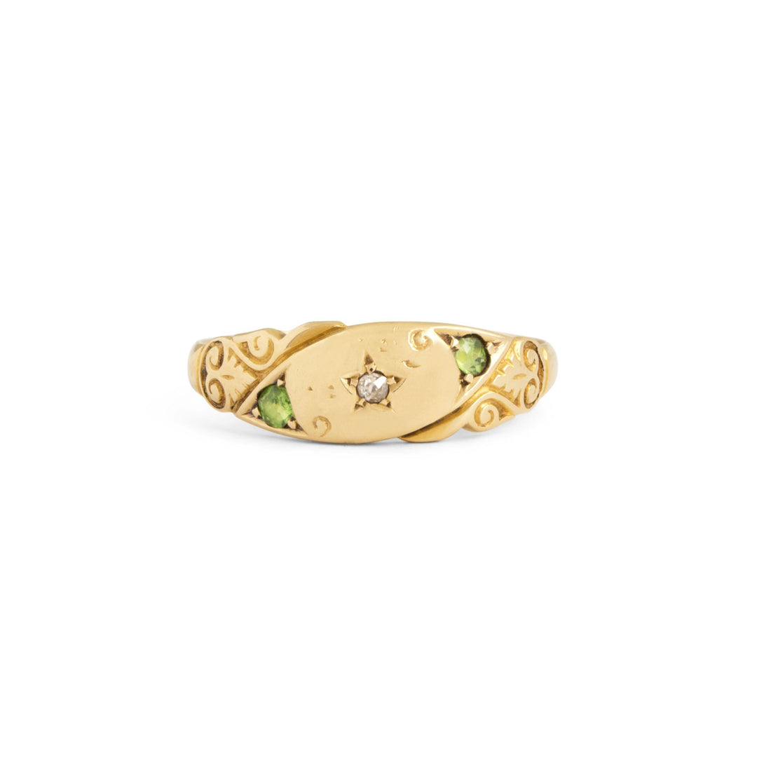 English Diamond and Peridot 18k Gold Gypsy Ring