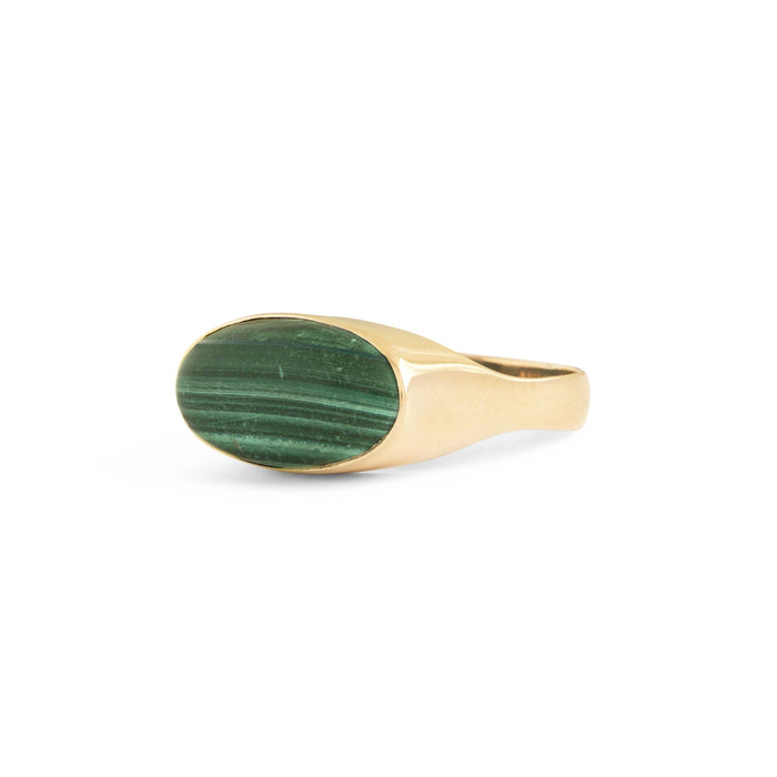English Malachite and 9k Gold Ring