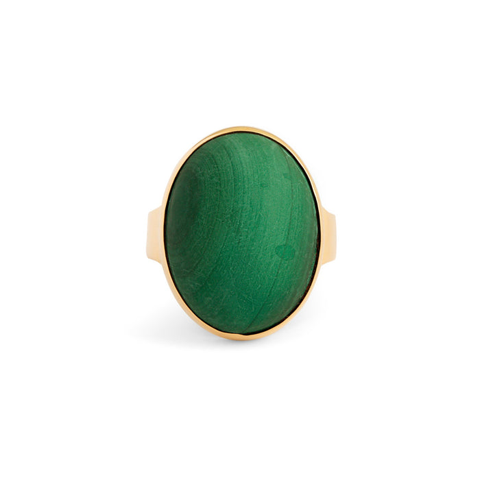 Large Malachite 9k Gold Ring