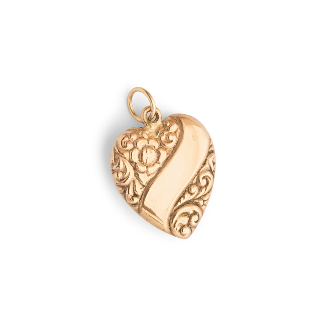 Floral Heart and Banner 14k Gold Charm
