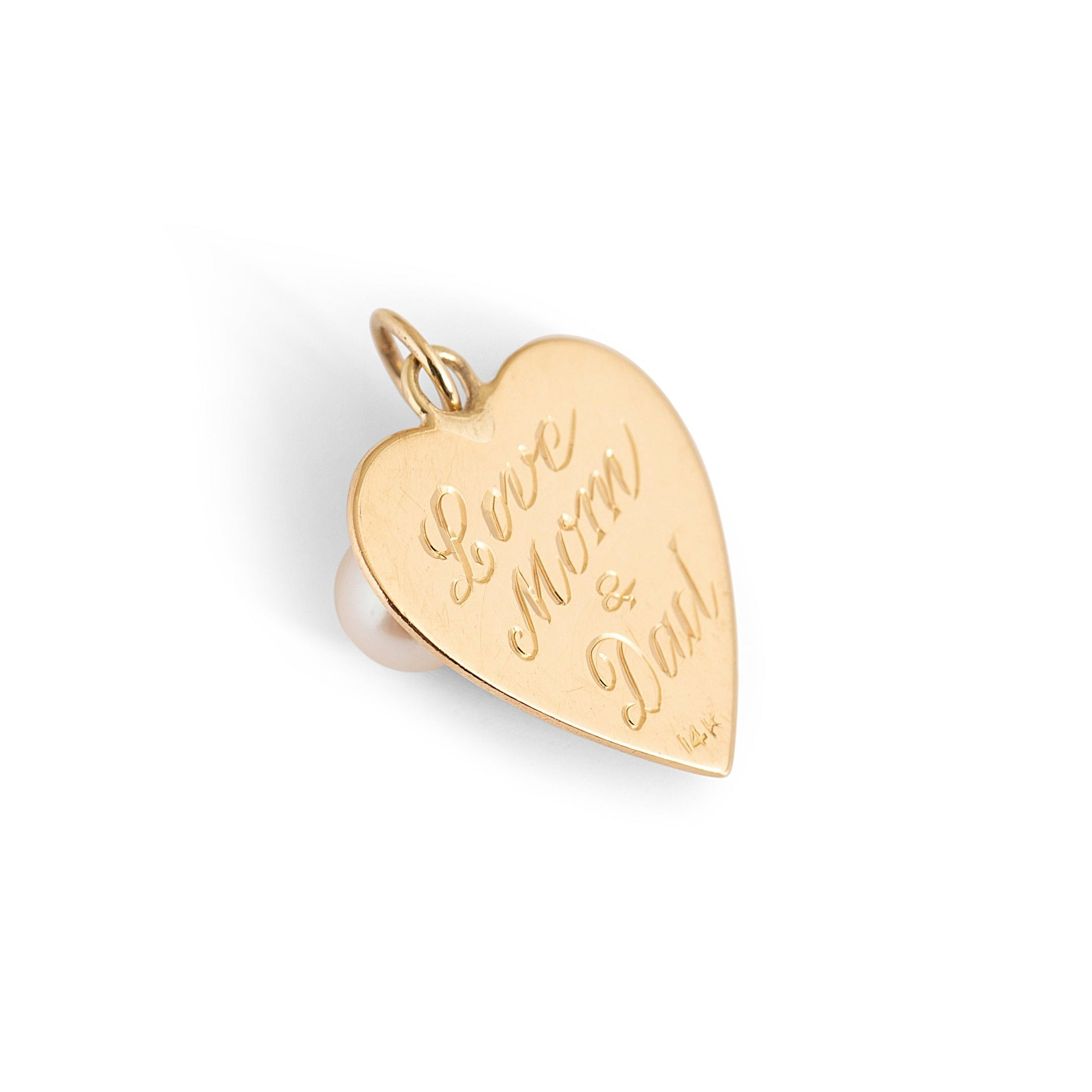 Heart Disc 14k Gold and Pearl Charm