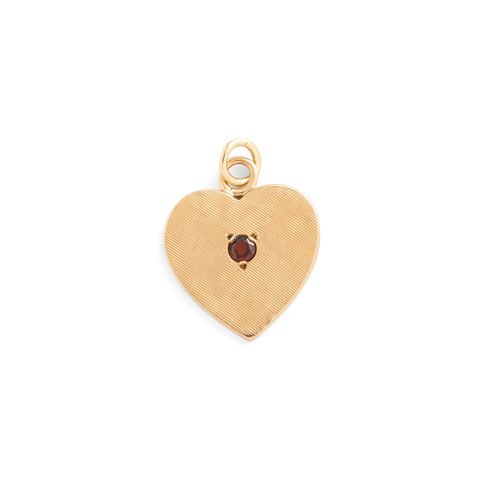 Garnet and Textured 14k Gold Heart Charm