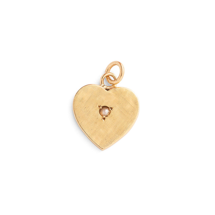 Pearl and Textured 14k Gold Heart Charm