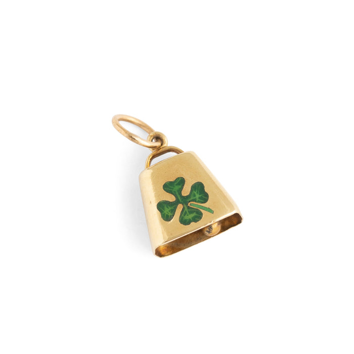 Four Leaf Clover Enamel and 14k Gold Bell Charm
