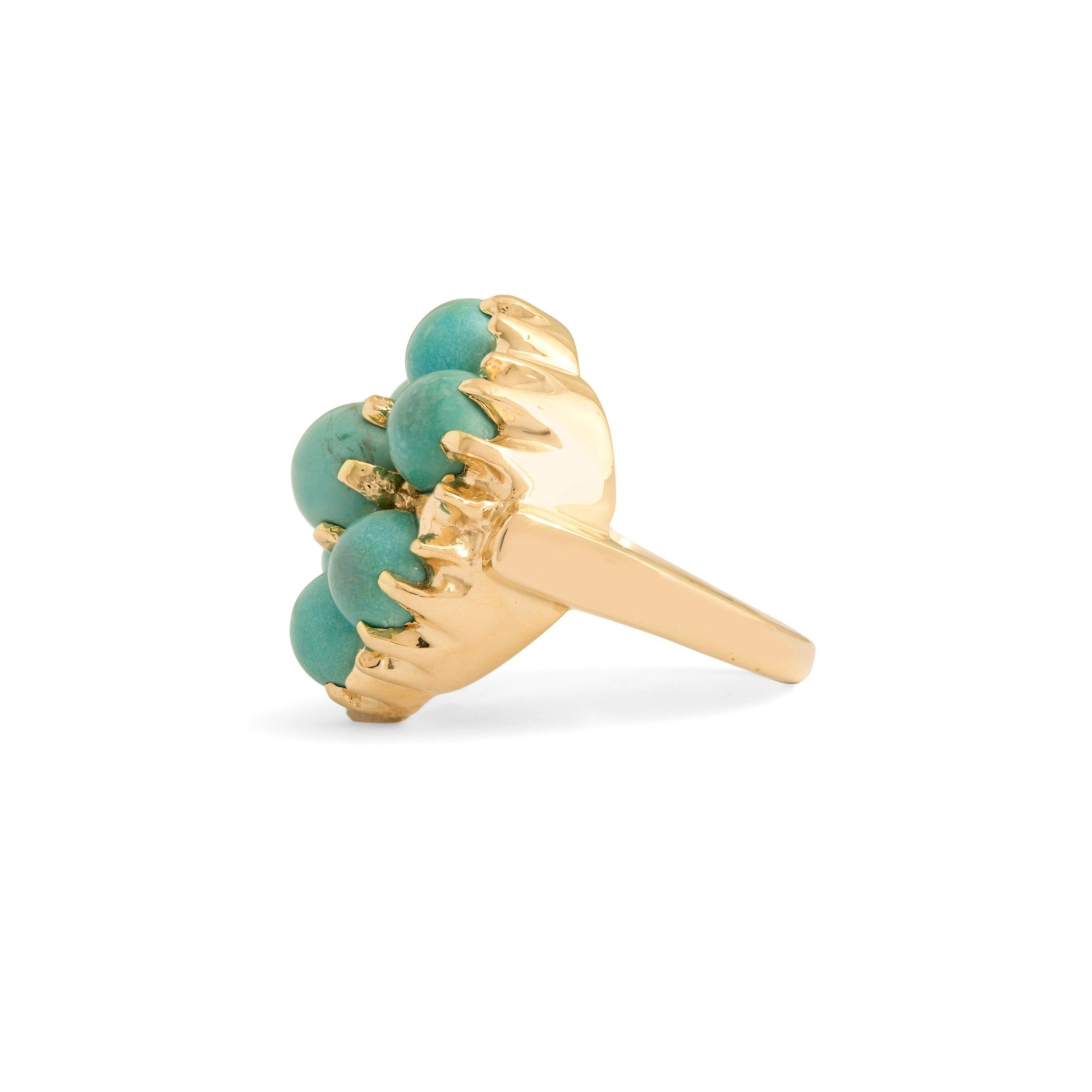 Green Turquoise And 14k Gold Cluster Ring