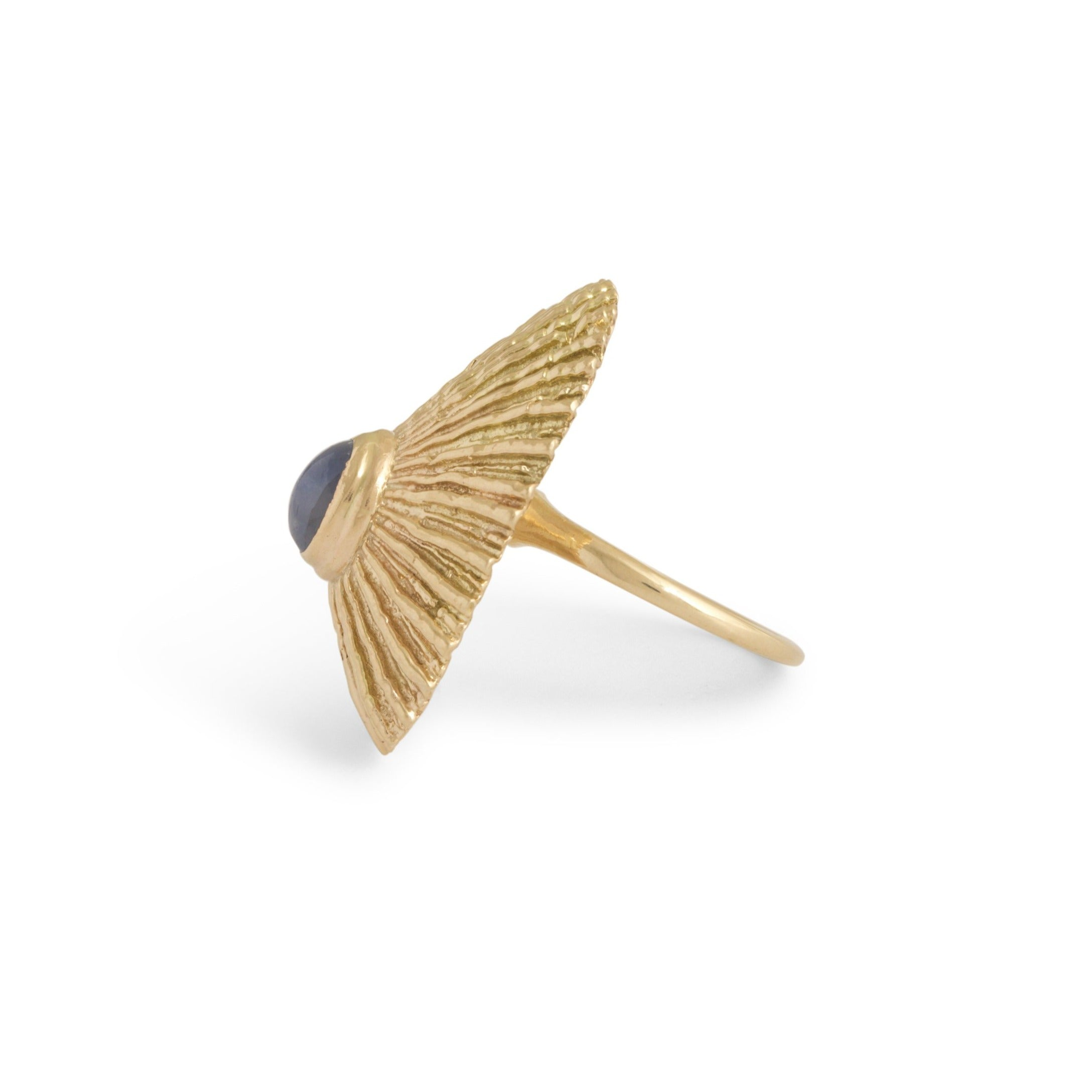 Star Sapphire and 14k Gold Textured Shell Ring