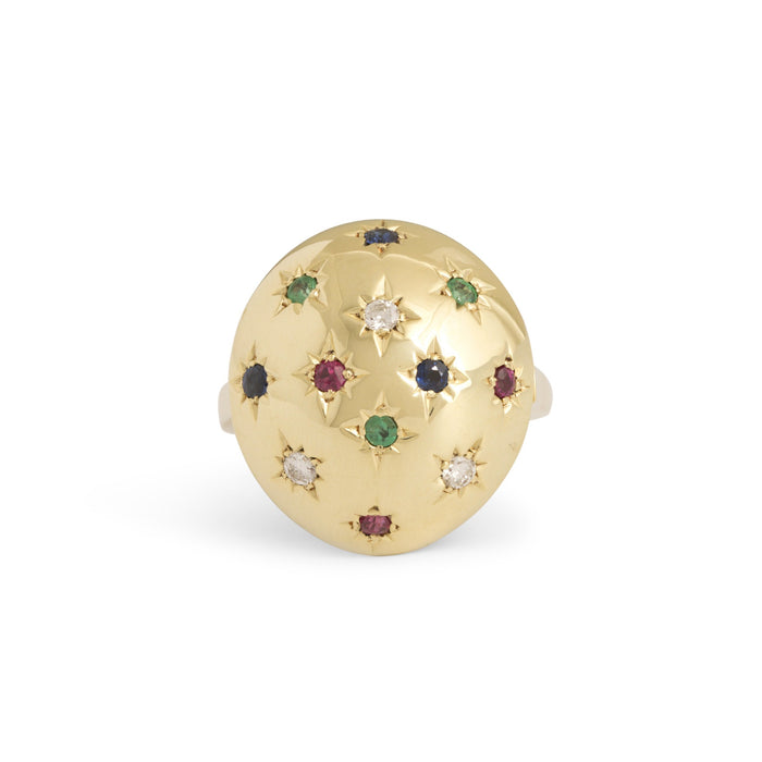Starburst Diamond, Emerald, Ruby, and Sapphire 14k Gold Dome Ring