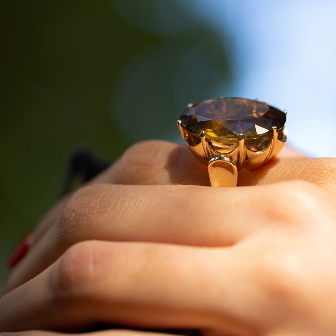 Large Oval Citrine 14k Gold Cocktail Ring