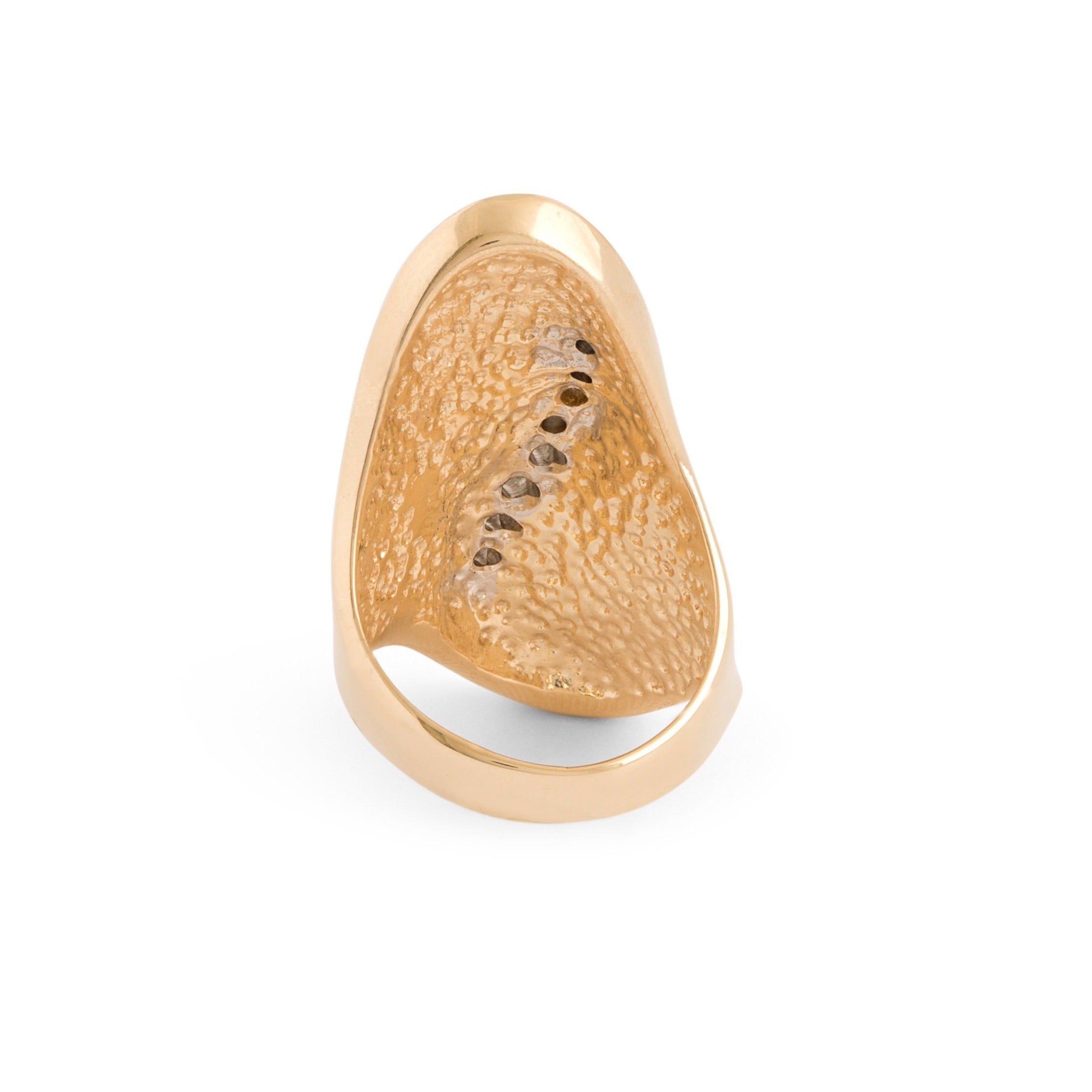Long 14k Gold And Diamond Sculptural Ring