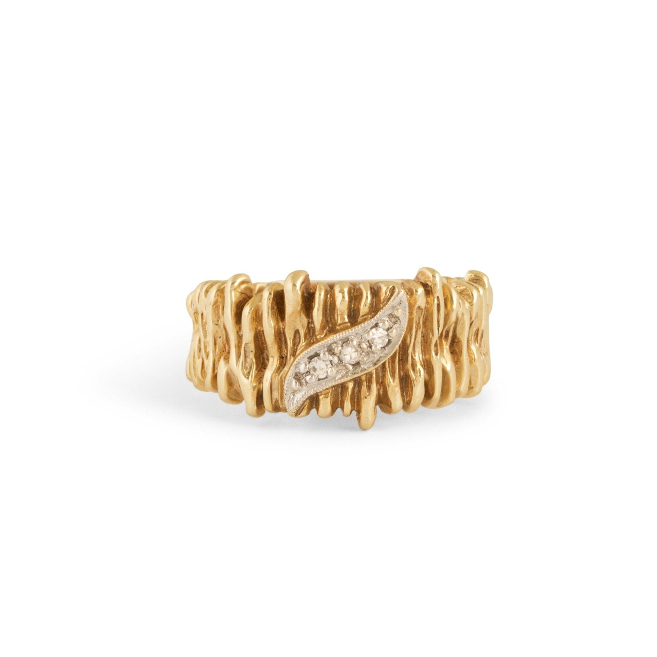 Textured 14k Gold and Diamond Ring