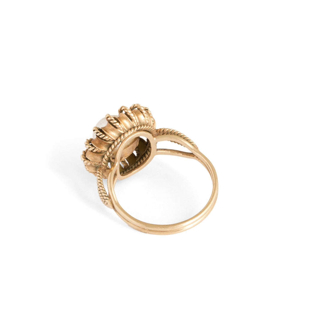 Pearl and 14k Braided Gold Ring