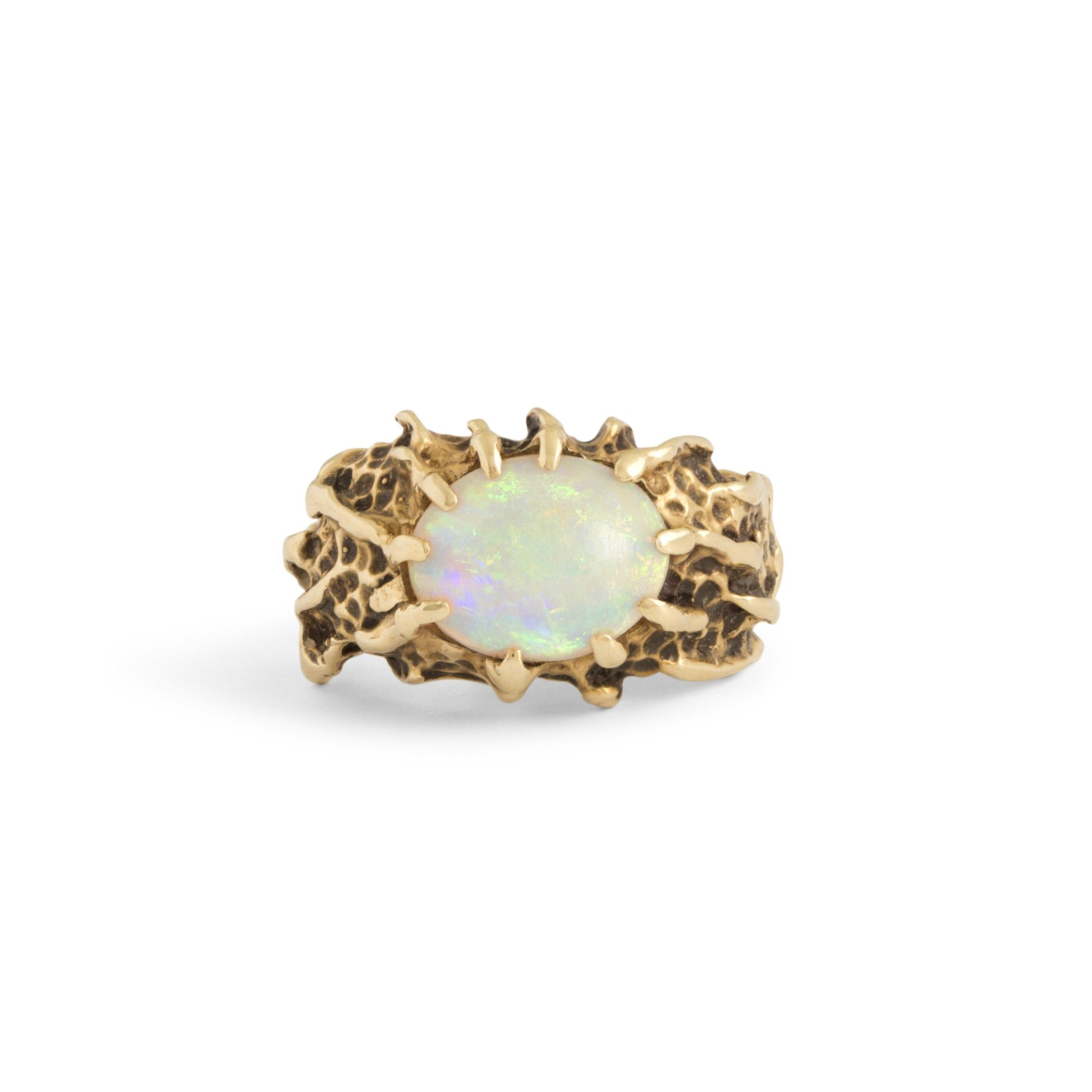 Textured 14k Gold And Opal Ring