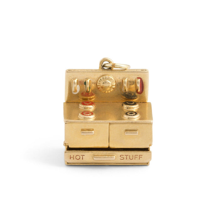 """Hot Stuff"" Movable Stove Enamel and 14k Gold Charm"