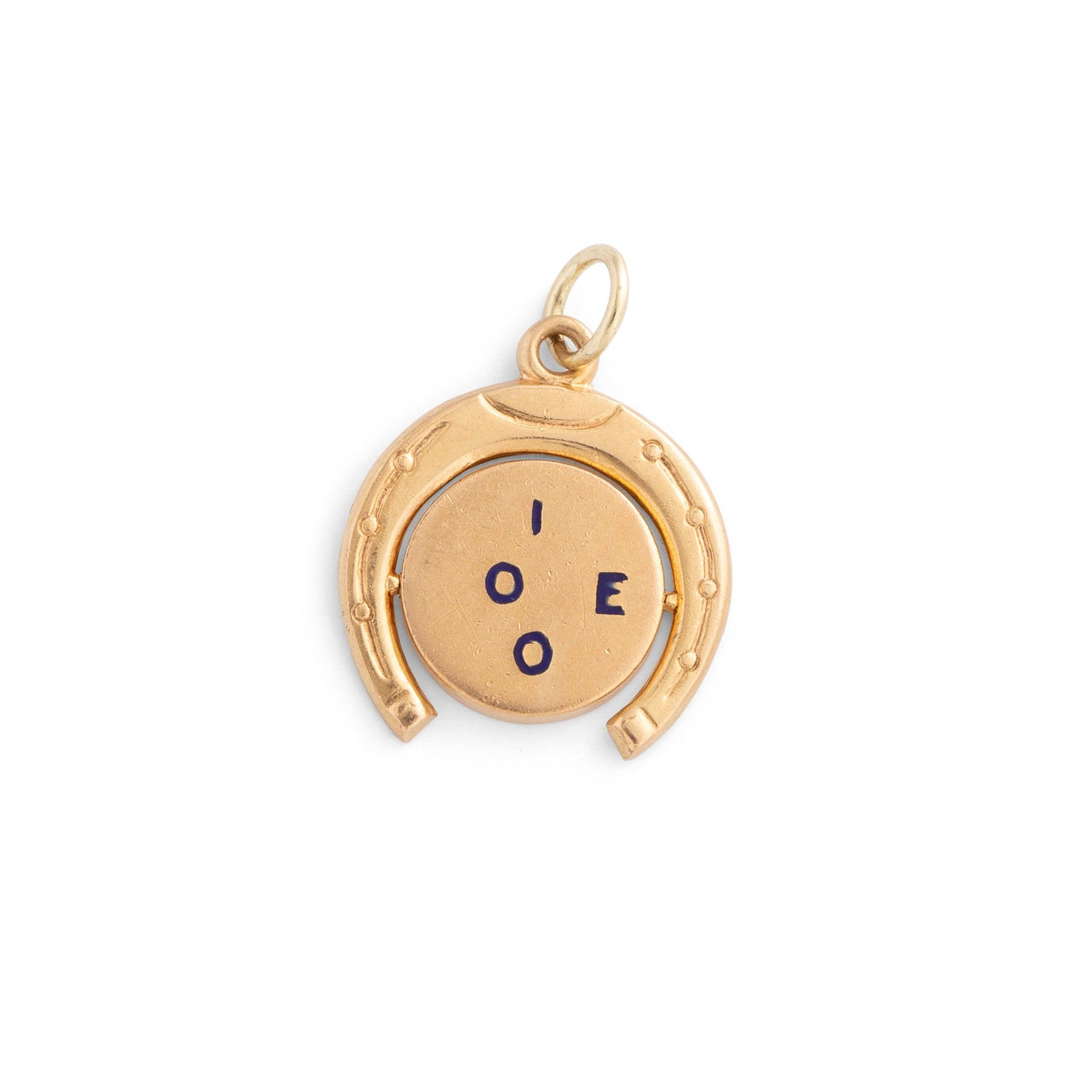 """I Love You"" Horseshoe 14k Gold And Enamel Spinner Charm"