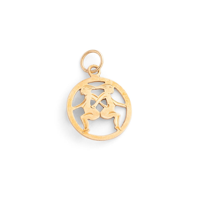 English Gemini 9k Gold Zodiac Charm