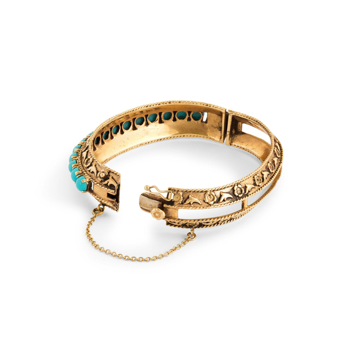 Victorian Style Turquoise and 14k Gold Bangle Bracelet