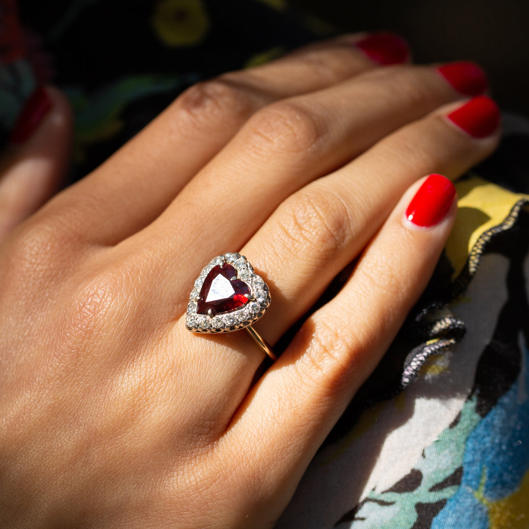 Garnet Heart and Diamond 14k Gold Cluster Ring