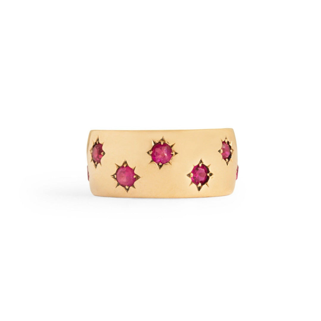 Ruby Starburst and 14k Gold Wide Band