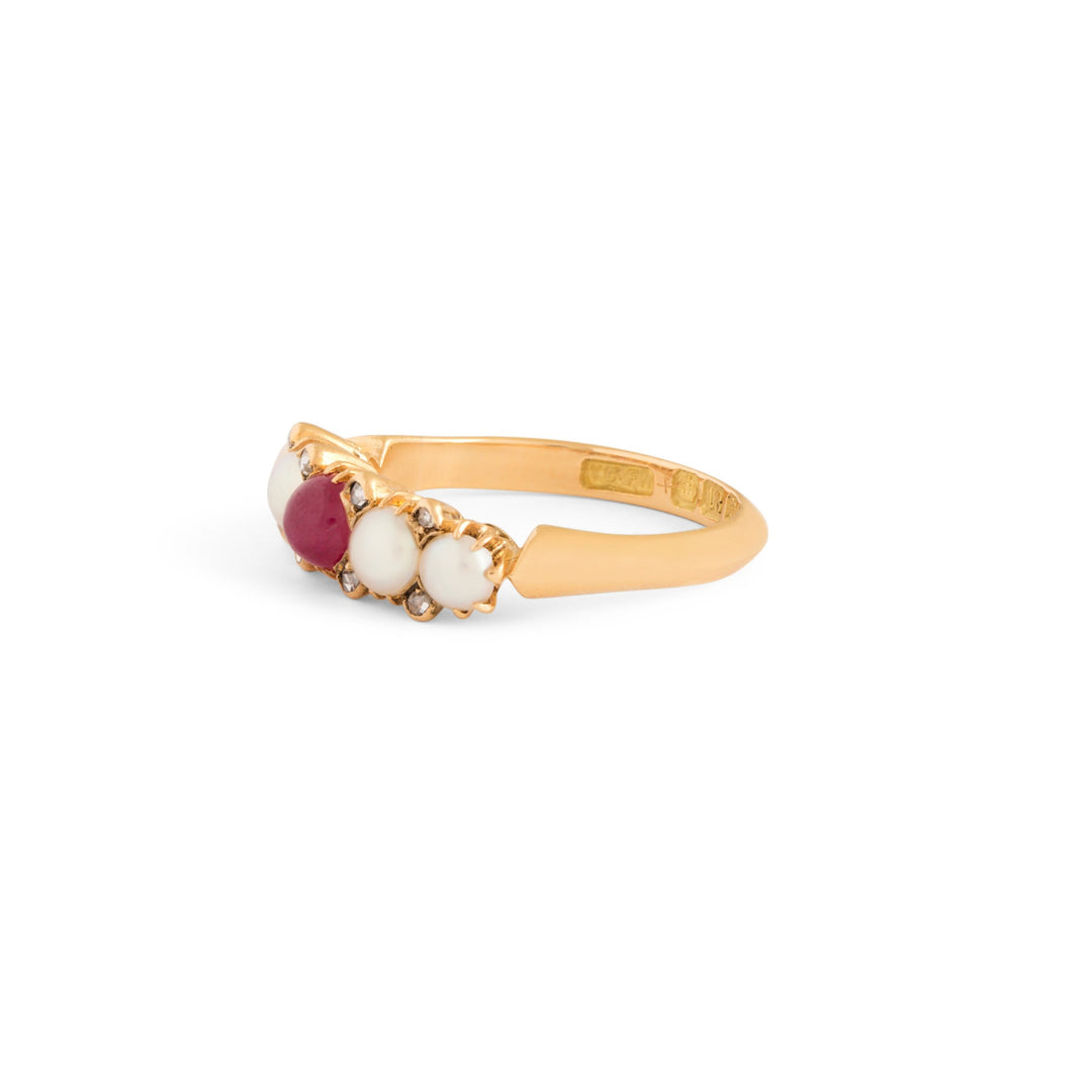 Victorian English Ruby, Pearl, Diamond And 18k Gold Ring