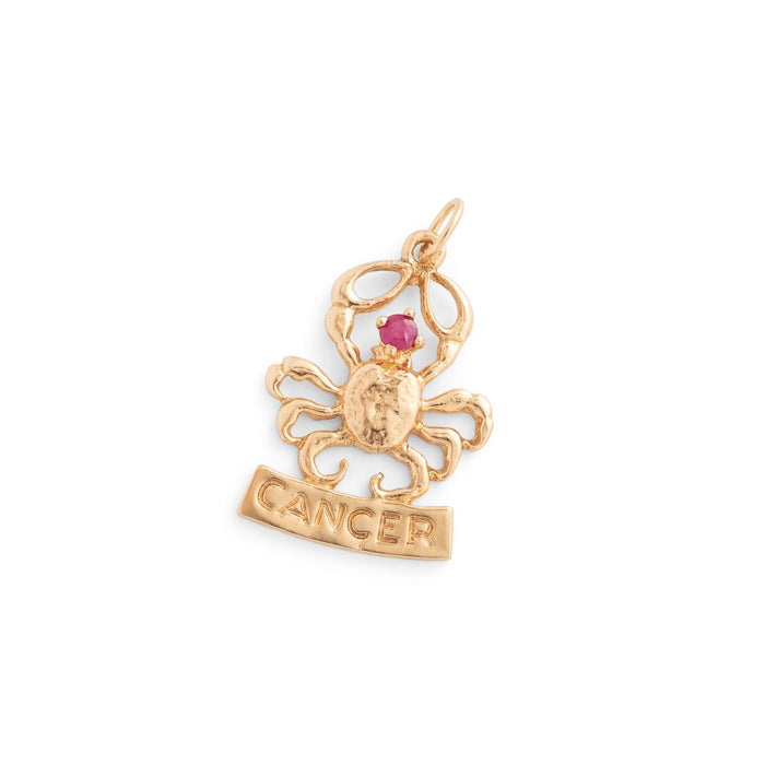 Cancer Ruby and 10k Gold Zodiac Charm