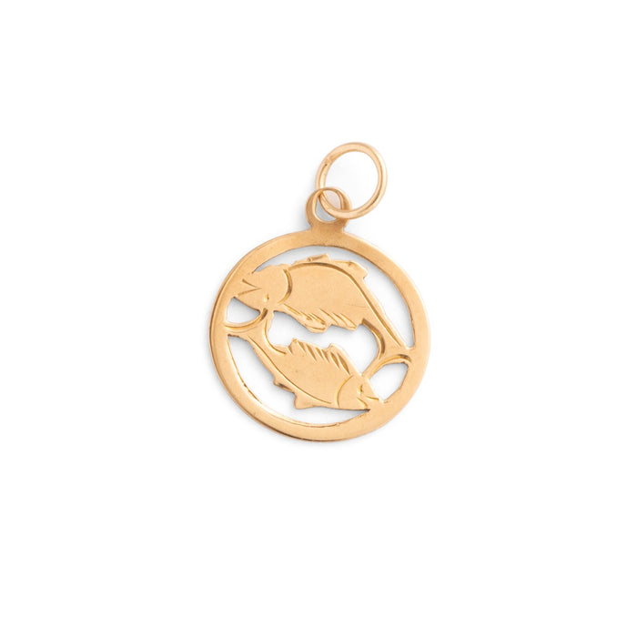Pisces 9k Gold English Zodiac Charm