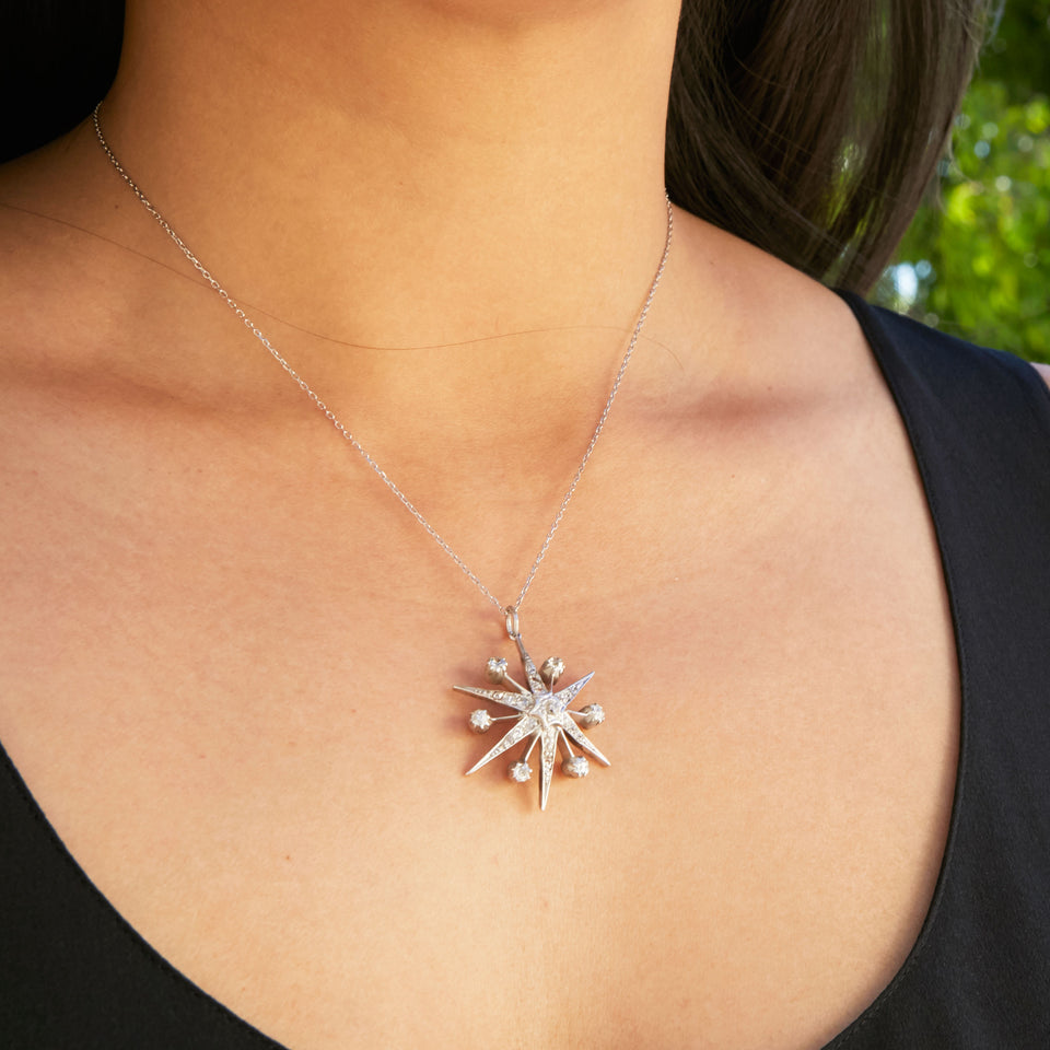 Victorian Diamond Starburst Pendant Necklace
