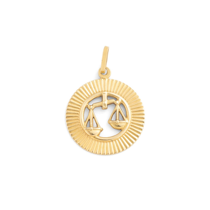Libra Fluted Disc 14k Gold Zodiac Charm