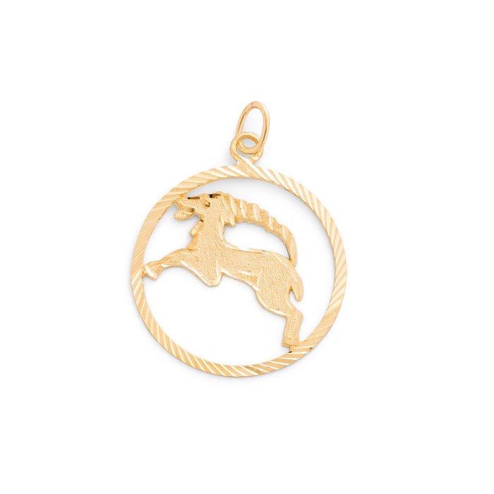 Large Aries 14k Gold Zodiac Charm