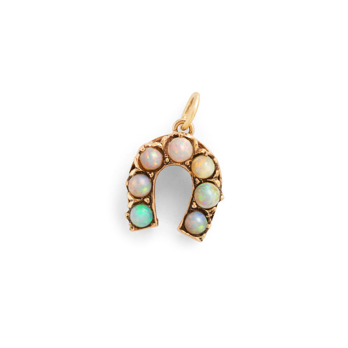 Opal and 14k Gold Horseshoe Charm