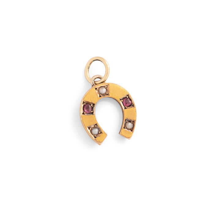 Pearl, Ruby, and 14k Gold Horseshoe Charm