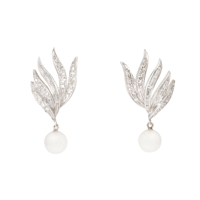 Diamond, Pearl, and 14k White Gold Fan Earrings