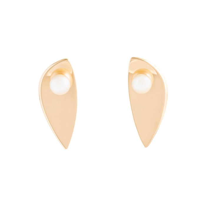 Hans Hansen Pearl and 14k Gold Earrings