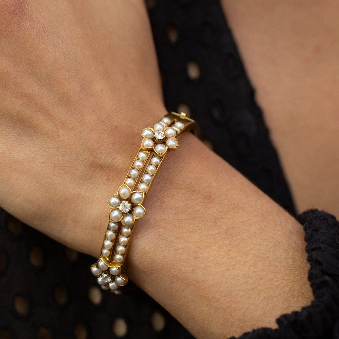 Victorian Pearl and Diamond Flower 18k Gold Bracelet