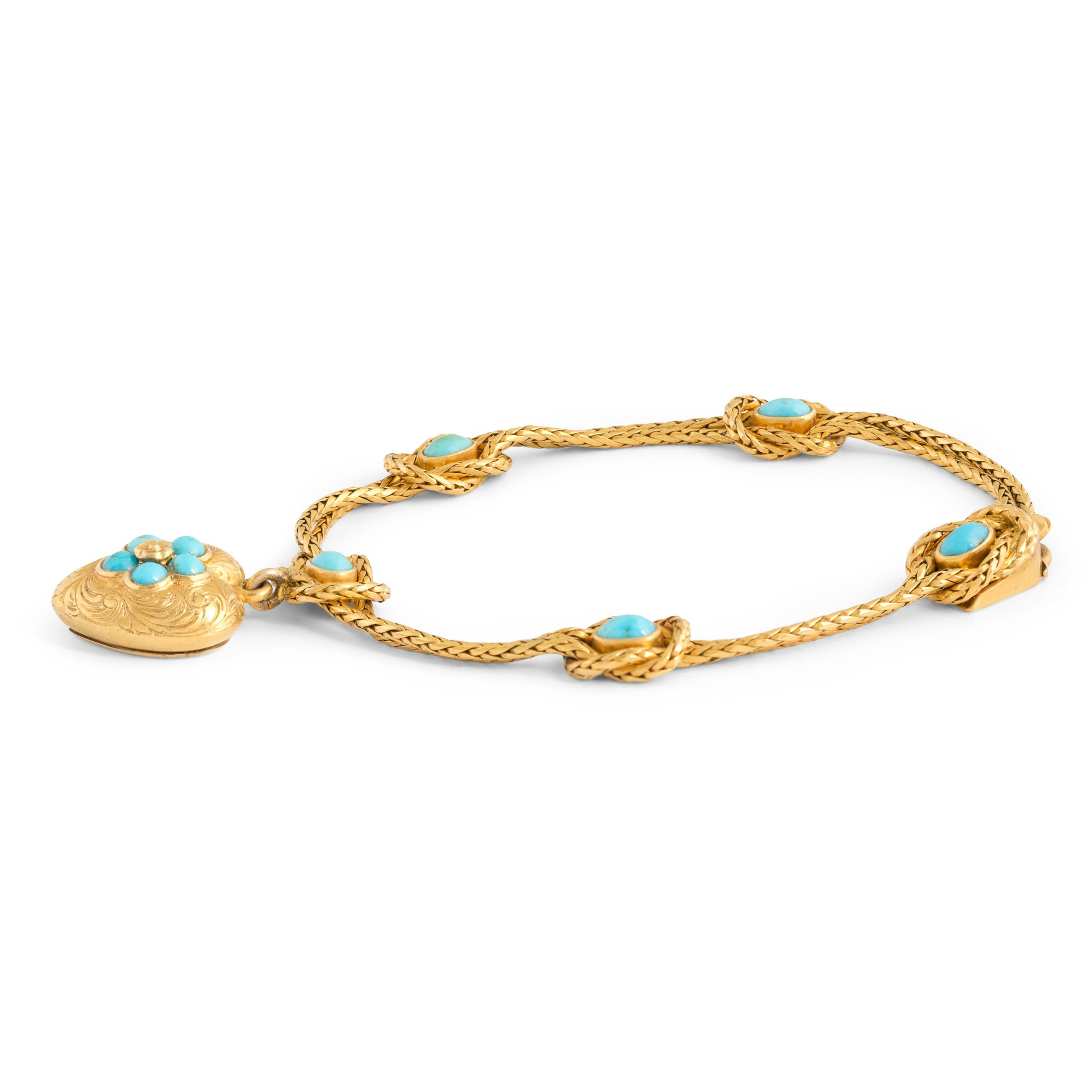 Victorian Turquoise and 14k Gold Heart Locket Bracelet