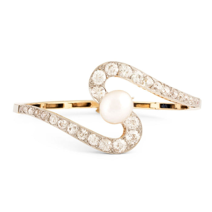 Edwardian Diamond, Pearl, 18k Gold, and Platinum Swirl Bracelet