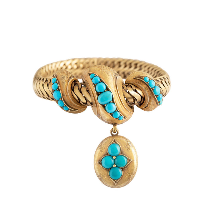 Victorian Turquoise and 14k Gold Locket Bracelet
