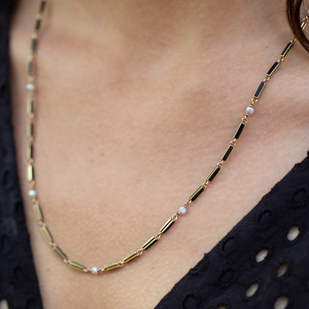 "Black Enamel and Pearl 14k Gold 21"" Chain"