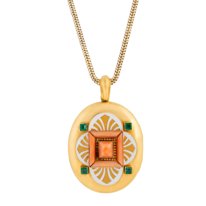 Victorian Coral, Emerald, And Enamel 18k Gold Locket