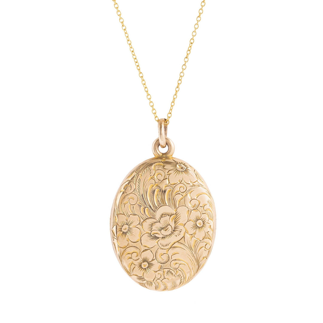 Engraved Floral 10k Gold Locket