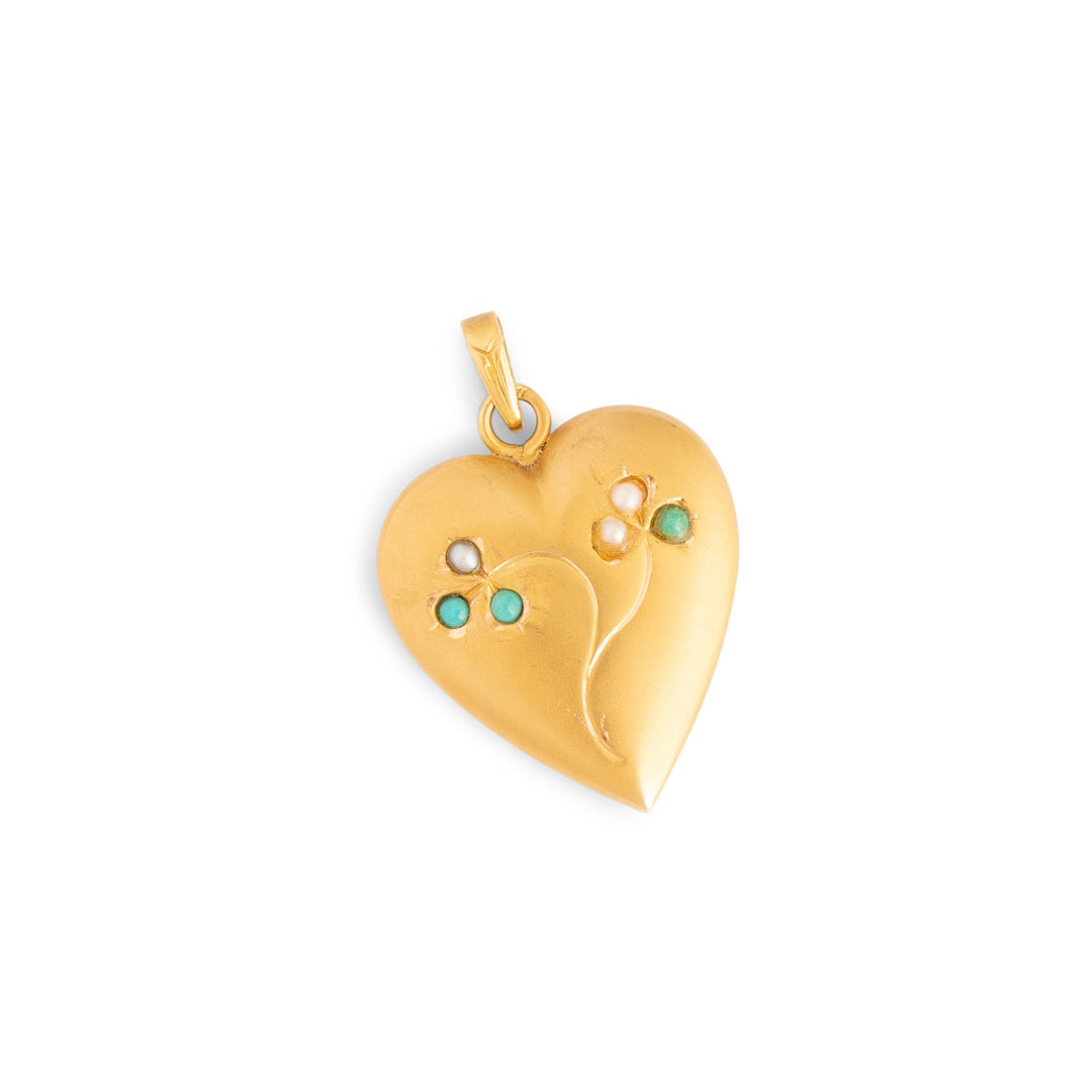 Victorian Turquoise, Pearl, and 18k Gold Heart Charm