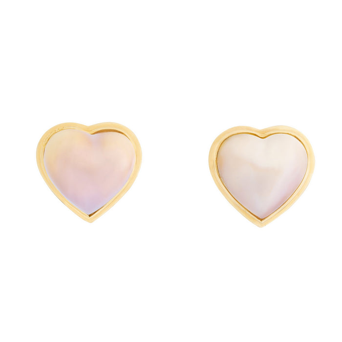 Heart Shaped Mabe Pearl and 14K Gold Earrings