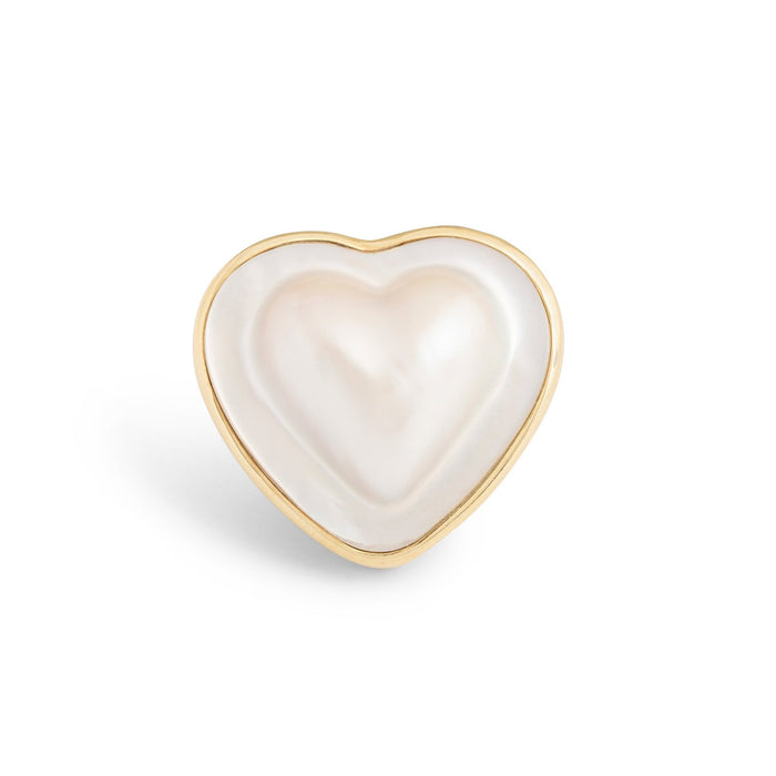 Large Heart-Shaped Mabe Pearl 18k Gold Ring