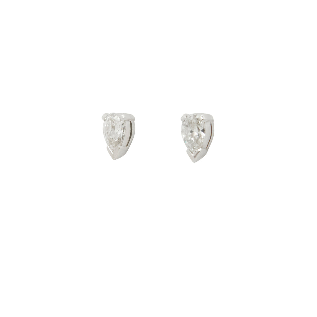 Pear-Shaped Diamond Stud Earrings
