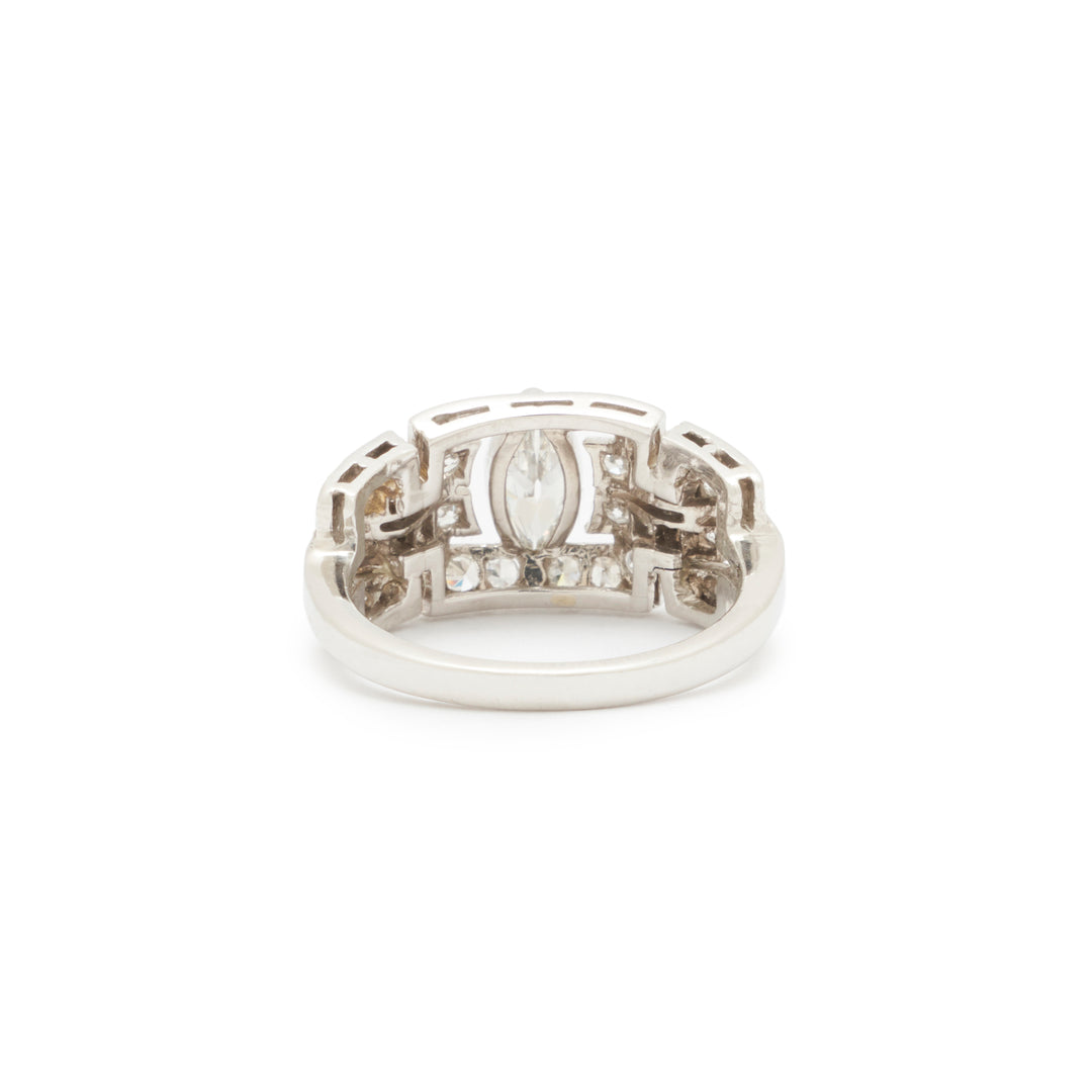 Art Deco Marquise Diamond And Platinum Ring